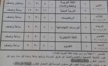 جدول امتحان الفصل الدراسي الأول  2017/2018 المرحة الابتدائية محافظة البحر الاحمر