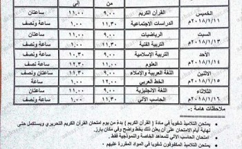 جدول مواعيد امتحانات النقل والشهادة الابتدائية الازهرية 2017/2018
