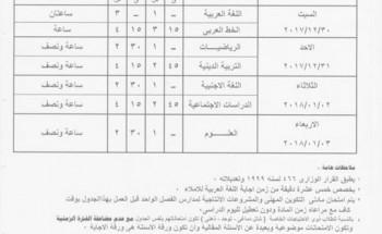 جدول امتحانات المرحلة الابتدائية 2017/2018 محافظة الغربية