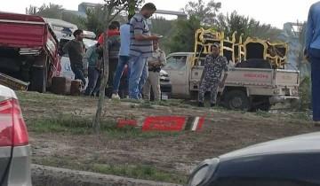 """انفصال سيارة نقل """"مقطورة"""" على طريق مدينة دمياط الجديدة بسبب الأمطار"""