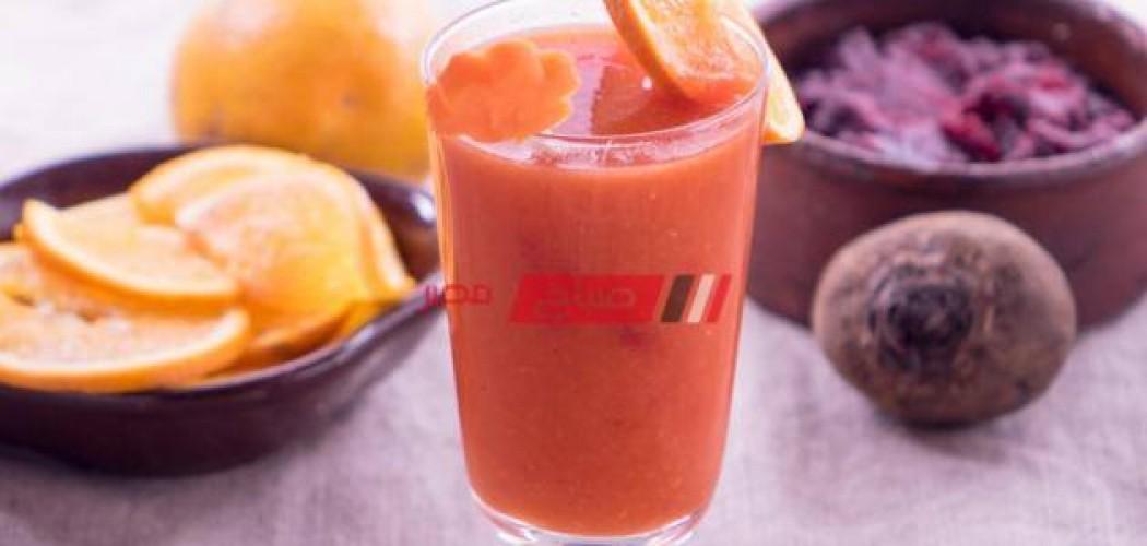 طريقة عمل سموذي الشمندر بالبرتقال