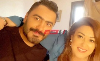 نهال عنبر وتامر حسني في صورة جديدة| ابني التاني