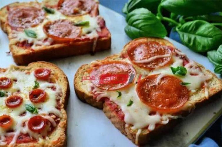 طريقة عمل بيتزا التوست السريعة بالهوت دوج والببرونى