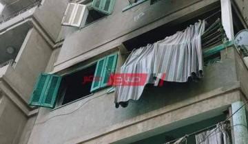 بالاسم مصرع معلمة سقطت من الطابق الثالث اثناء حريق منزلها بدمياط