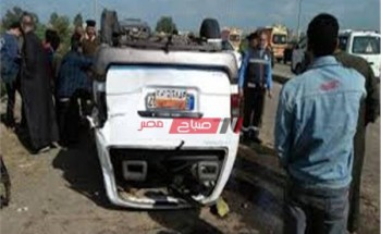 إصابة 7 أشخاص إثر حادث انقلاب سيارة ميكروباص فى أسيوط