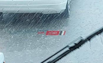 بالصور تساقط أمطار غزيرة علي الإسكندرية وطقس غائم