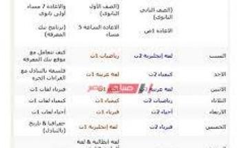 مواعيد جدول قناة مصر التعليمية للصف الأول الثانوي 2021