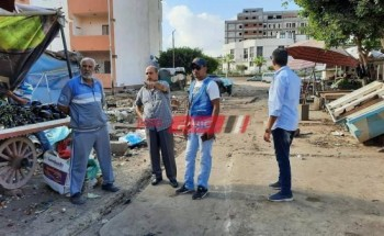 إستمرار حملات إزالة الاشغالات والتعديات من الشوارع والطرق الرئيسية ببورسعيد