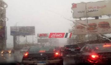 توقف حركة المرور بكوبري 6 أكتوبر المتجه للمهندسين بسبب الأمطار