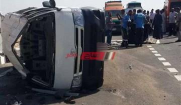 إصابة 14 شخص نتيجة حادث مروع فى المنيا