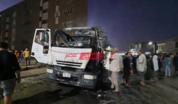 الحماية المدنية تسيطر على حريق نشب داخل سيارة مواد بترولية فى أسيوط