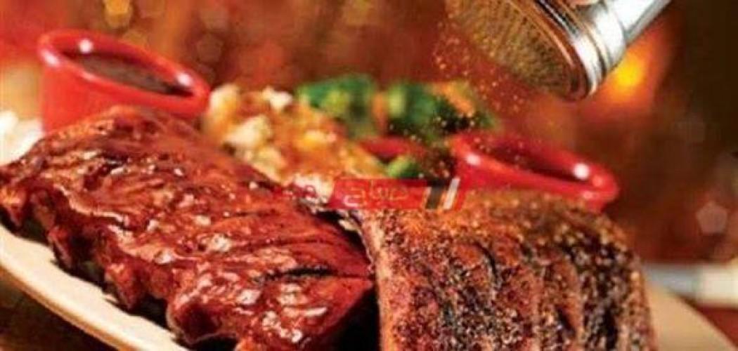 طريقة عمل اللحم المشوى مع الأرز بالزعفران والسلطة الخضراء