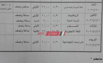 جدول امتحانات المرحلة الابتدائية محافظة جنوب سيناء الترم الأول 2021