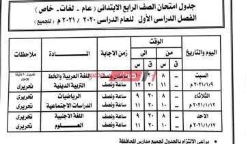 جدول امتحانات محافظة أسوان الابتدائي الترم الأول 2021 وزارة التربية والتعليم