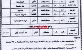جدول امتحانات 4 ابتدائي الترم الأول 2021 جميع محافظات الجمهورية