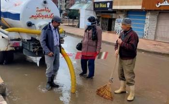 انتظام أعمال رفع اثار موجة سقوط الأمطار والطقس السيئ في دمياط