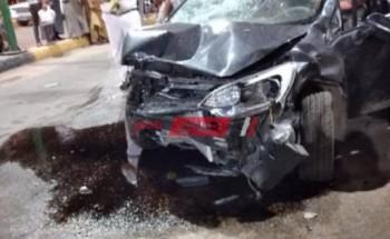 إصابة 4 أشخاص جراء حادث تصادم مروع على طريق السويس