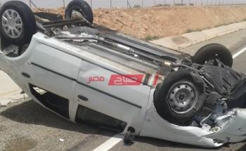 إصابة 4 أشخاص إثر حادث إنقلاب سيارة ملاكى فى سوهاج