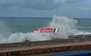 تحذير من ارتفاع موج البحر بشواطئ الإسكندرية