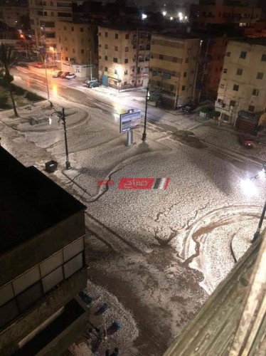 بالصور الثلوج تغطي شوارع محافظة دمياط على خلفية موجة الطقس السيئ