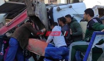 إصابة شخصين إثر حادث انقلاب بمدخل مدينة المنصورة