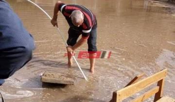 استمرار الجهود المبذولة فى تصريف مياه الأمطار بمركز ومدينة ادكو ورشيد