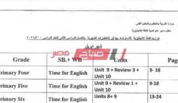 مقرر امتحان شهر أبريل 2021 للصف الرابع الابتدائي توزيع منهج الاختبار الشهري الثاني
