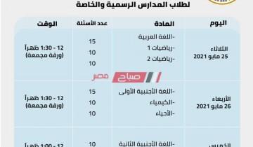 جدول امتحانات الصف الثاني الثانوي 2021 الترم الثاني وزارة التربية والتعليم