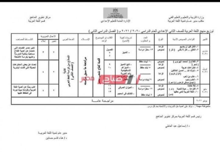 توزيع منهج اللغة العربية الترم الثاني 2021 للصف الثاني الاعدادي مارس وأبريل ومايو