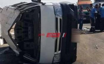 تفاصيل إصابة 12 عامل في حادث انقلاب سيارة ميكروباص ببرج العرب في الإسكندرية