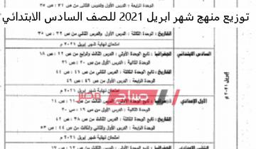 توزيع منهج شهر أبريل 2021 للصف السادس الابتدائي اختبارات الترم الثاني الشهرية وزارة التربية والتعليم