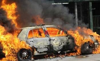 نيران تلتهم سيارة محملة بالمنظفات في بنها بالقليوبية دون اصابات
