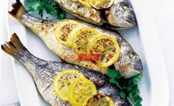 طريقة عمل سمك الدنيس المحشي بالثوم والفلفل والبقدونس والنعناع وزيت الزيتون بطريقة سهلة وبسيطة