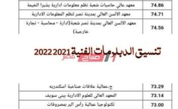 تنسيق الدبلومات الفنية 2021 2022 لطلاب التعليم الفني وجميع الأقسام