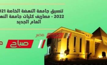 تنسيق جامعة النهضة الخاصة 2021-2022 – مصاريف كليات جامعة النهضة العام الجديد