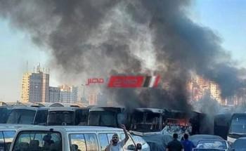 نشوب حريق في جراج مدرسة خاصة واشتعال 3 أتوبيسات في الإسكندرية
