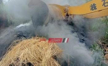 إزالة مكمورة فحم مخالفة لشروط البيئة على مساحة 150 متر بدمياط