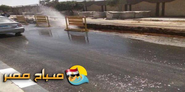 كسر بماسورة مياه شرب بحي المنتزة ثان فى الاسكندرية