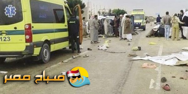 حادث تصادم على طريق صحراوى بنى سويف يسفر عن مصرع شخص واصابة 19 اخرين