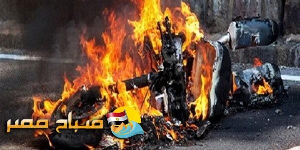 شاب يشعل النار فى دراجة والده بمحرم بك فى الاسكندرية