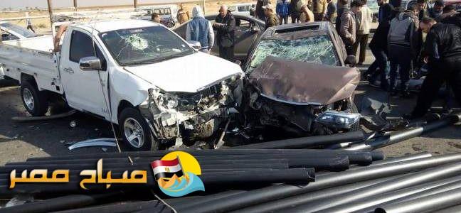 مصرع شخص وإصابة 3 في تصادم سيارتين في أسيوط