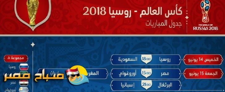 مواعيد مباريات كاس العالم بتوقيت مصر و السعودية والقنوات الناقلة