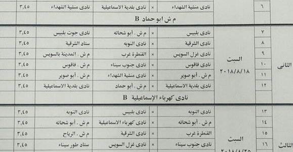 جدول مباريات القسم الثالث المجموعة السابعة