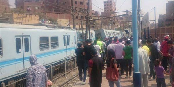 انقلاب عربة مترو فى محطة المرج القديمة