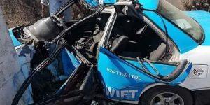 إصابة سائق تاكسى إثر حادث اصطدام سيارته بعمود إنارة بطريق كفر سعد البلد