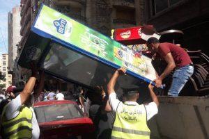 بالصور حملات مكبرة لإزالة إشغالات الباعة الجائلين بحي وسط بالإسكندرية