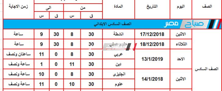 جدول امتحانات محافظة القليوبية جميع المراحل 2018/2019