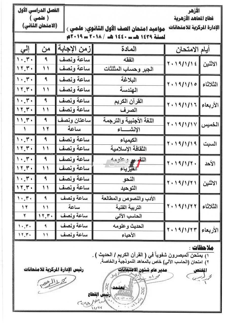 امتحانات الصف الاول الثانوى 2019