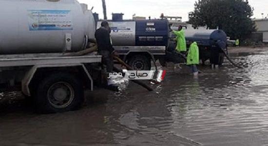 تراكم مياه الأمطار في العديد من الشوارع بالإسكندرية