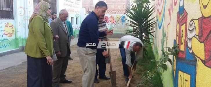 """بالصور مدارس عزبة البرج بدمياط تشارك في مبادرة """"السيسي"""" لزراعة مليون شجرة مثمرة"""
